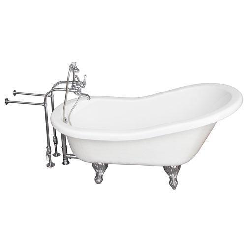 "Estelle 60"" Acrylic Slipper Tub Kit in White - Polished Chrome Accessories"