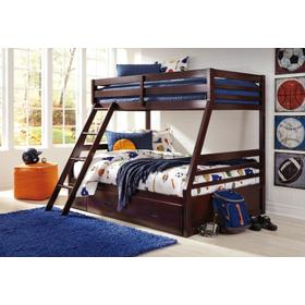 Halanton Twin/Full Bunk Bed W/Under Bed Storage Dark Brown