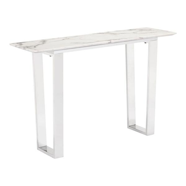 See Details - Atlas Console Table White & Silver