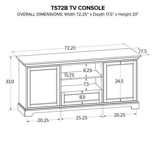 Howard Miller Custom TV Console TS72B
