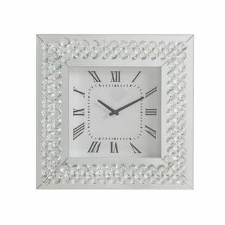 ACME Lotus Wall Clock - 97044 - Mirrored & Faux Crystals
