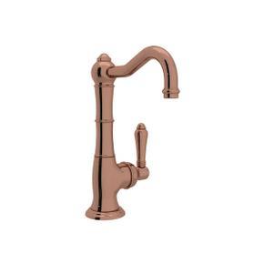 Cinquanta Single Hole Column Spout Kitchen Faucet - Rose Gold with Metal Lever Handle