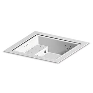 Built-in fiberglass minipool with skimming lip. Seat with blower 2 dorsal whirlpool and 1 leg linear whirlpool systems RGB LED spot lamp ozonator heat exchanger heating system. For 3/4 persons. White colour.