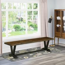 15x72 in Dining Bench with Wirebrushed Black Leg and Distressed Jacobean 418 Top finish