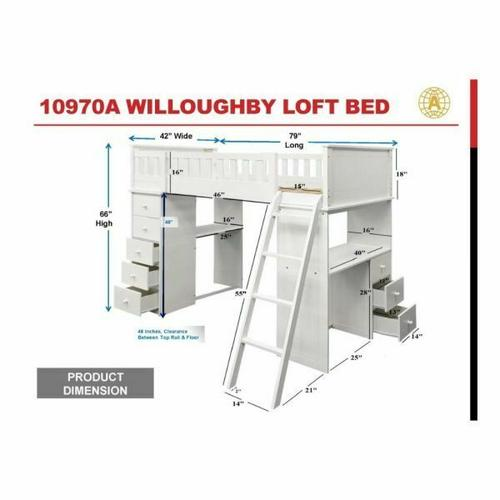 ACME Willoughby Loft Bed - 10970A - White