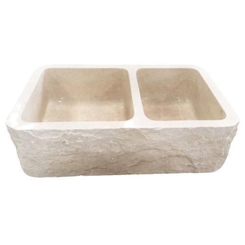 "Ranier Double Bowl Marble Farmer Sink - 33"""