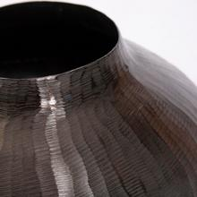 View Product - Carbon Gray Round Chiseled Aluminum Vase
