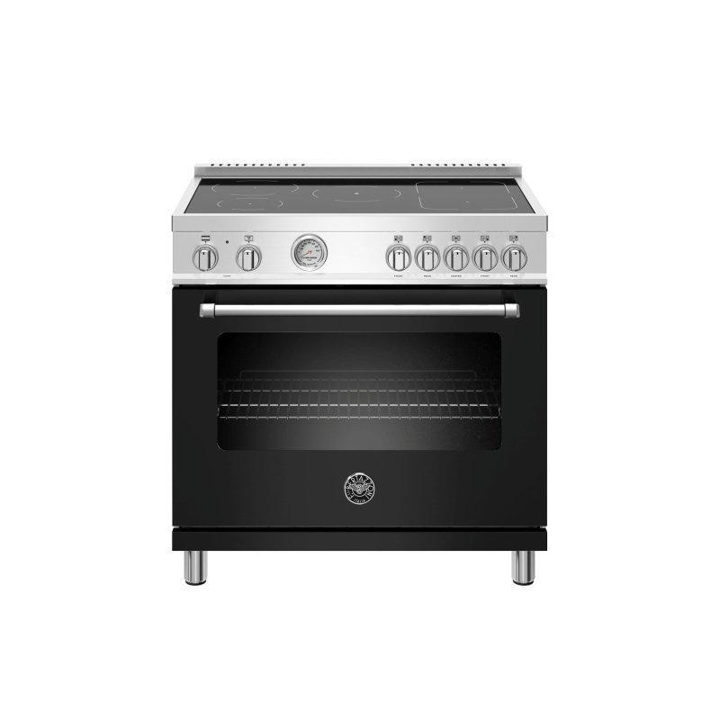 36 inch Induction Range, 5 Heating Zones, Electric Oven Nero Matt