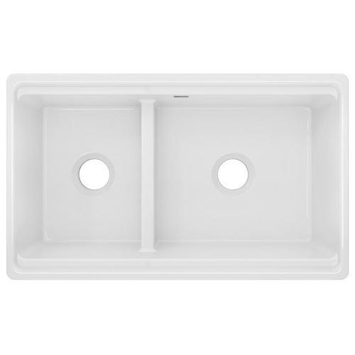 "Elkay - Elkay Fireclay 33"" x 20"" x 10-1/8"" 60/40 Double Bowl Farmhouse Sink White with Aqua Divide"