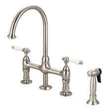 See Details - Harding Kitchen Bridge Faucet with Sidespray and Porcelain Lever Handles - Brushed Nickel