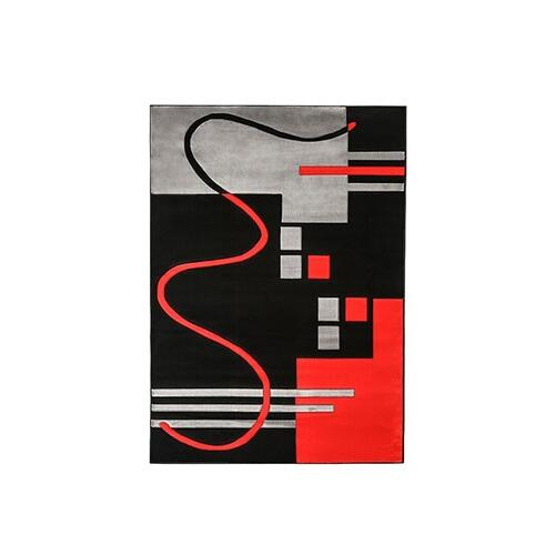 "Furniture of America - Aisling 5' 3"" X 4"" Black & Redarea Rug"
