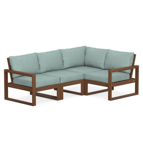 Polywood Furnishings - EDGE 4-Piece Modular Deep Seating Set in Teak / Glacier Spa