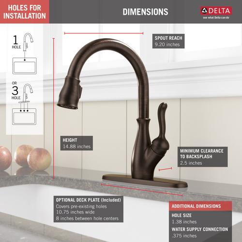 9178rbdst In Venetian Bronze By Delta Faucet Company In Raleigh Nc Venetian Bronze Single Handle Pull Down Kitchen Faucet With Shieldspray Technology