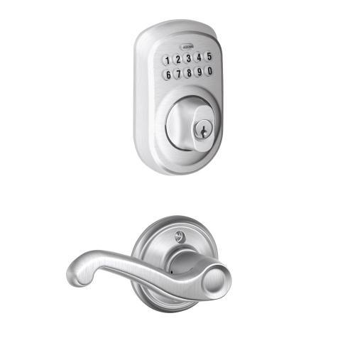 Plymouth Trim Keypad Deadbolt paired with Flair Lever Hall & Closet Lock - Satin Chrome