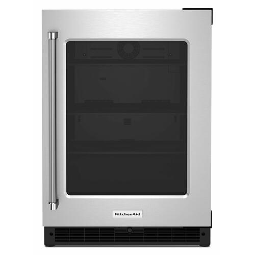 "KitchenAid - 24"" Undercounter Refrigerator with Glass Door - Stainless Steel"