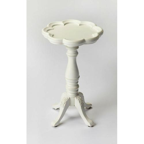 Butler Specialty Company - Designed to be a perfect complement for a small space in virtually any room; this elegant table is crafted from solid hardwoods and cherry veneers. The table top features a distinguished scalloped edge atop an immaculately turned pedestal and four intricately carved legs.