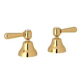 Verona Deck Mount Set of Hot and Cold 1/2 Inch Sidevalves - Italian Brass with Metal Lever Handle