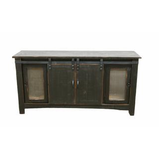 "See Details - 70"" Stone Brown Barn Door TV Fireplace"
