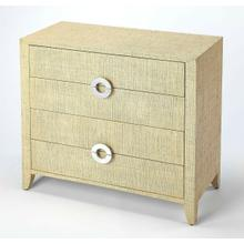 Product Image - Add coastal ambiance to any space with this raffia-clad accent chest. Providing abundant storage and stylish contemporary lines, it boasts a cream finish and four drawer with felt-lined bottoms and silver finished crescent drawer pulls - a stunning addition in a bedroom or an entryway.