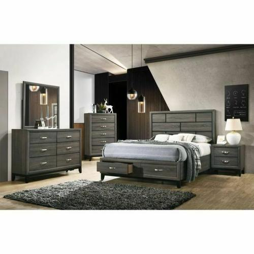 ACME Valdemar Queen Bed (Storage) - 27060Q - Transitional - Wood (Rbw), Veneer (PU Foil) - Weathered Gray