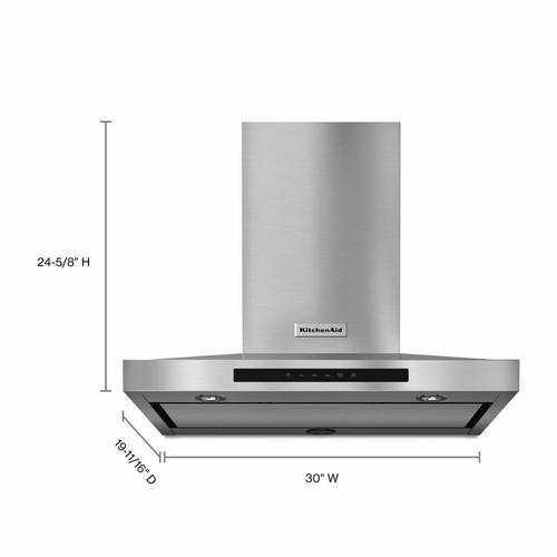 """KitchenAid - 30"""" Wall-Mount, 3-Speed Canopy Hood - Stainless Steel"""
