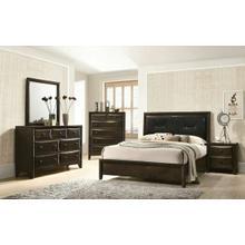 ACME Brenta Queen Bed - 26640Q - Black PU & Walnut