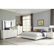 Felicity Contemporary White and High Gloss California King Four-piece Set