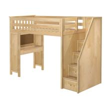 See Details - All in One Staircase Loft Bed Study Natural