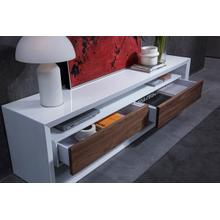 Modrest Manvel Contemporary White & Walnut TV Stand