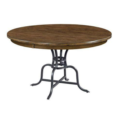 """Gallery - The Nook 54"""" Round Hewned Maple Dining Table with Metal Base"""