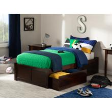 Concord Twin XL Flat Panel Foot Board with 2 Urban Bed Drawers Walnut