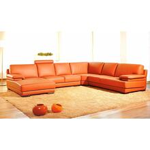 See Details - Divani Casa 2227 - Modern Orange Leather U Shaped Sectional Sofa