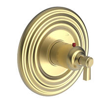 """Satin Brass - PVD 3/4"""" Round Thermostatic Trim Plate with Handle"""