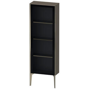 Duravit - Semi-tall Cabinet With Mirror Door Floorstanding, Flannel Gray High Gloss (lacquer)