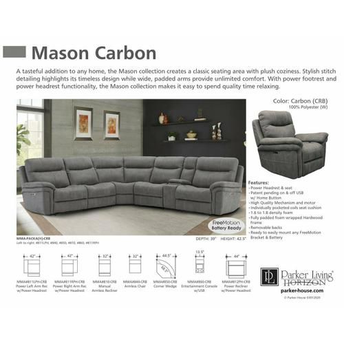 MASON - CARBON Power Left Arm Facing Recliner