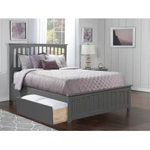 Mission Queen Bed with Matching Foot Board with 2 Urban Bed Drawers in Atlantic Grey