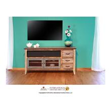 "62"" TV Stand w/3 drawers and 2 iron mesh doors"