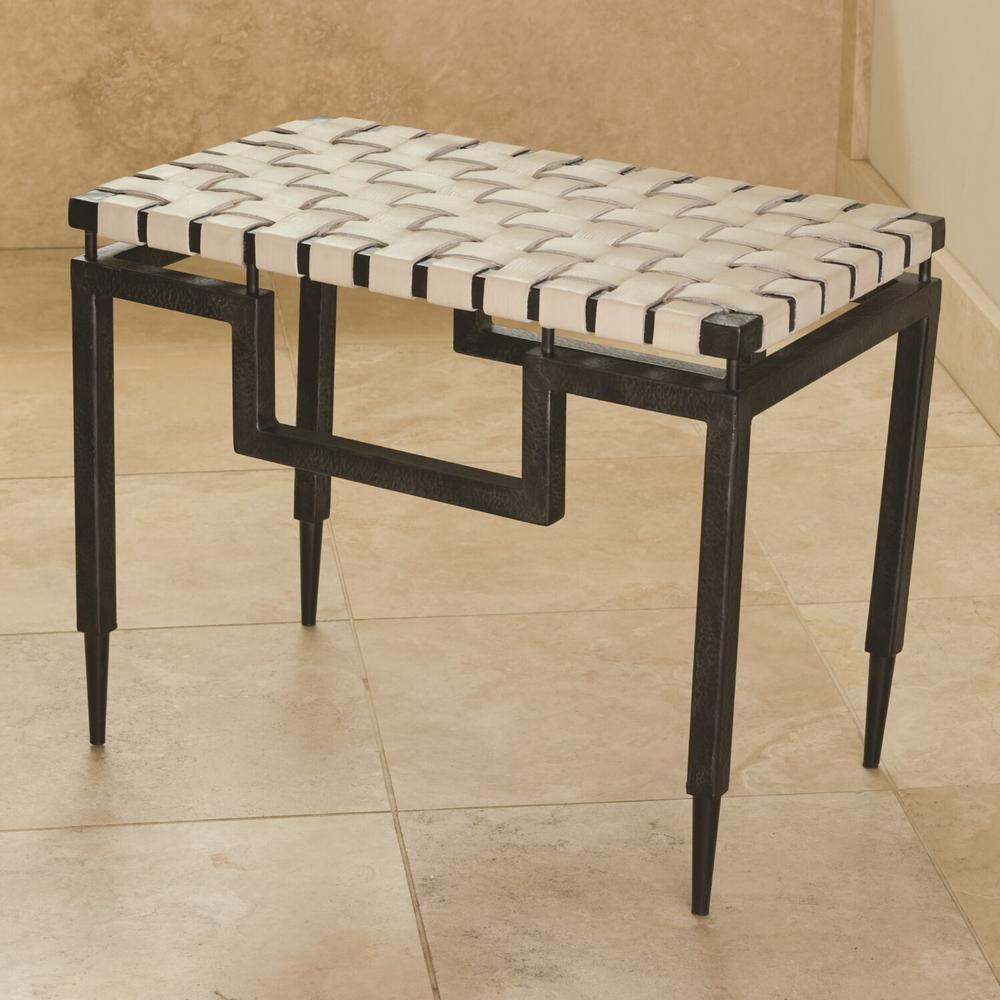 See Details - Iron/Leather Bench