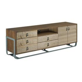 AD Modern Synergy Panorama Tv Console Upholstered Headboard w/ Slat Pack