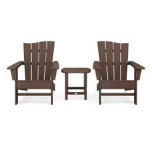 View Product - Wave 3-Piece Adirondack Chair Set in Mahogany