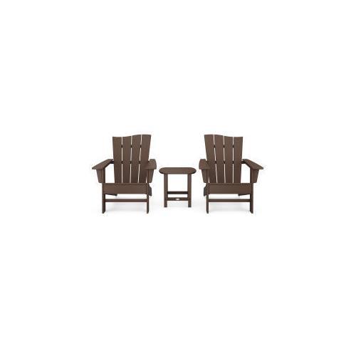 Polywood Furnishings - Wave 3-Piece Adirondack Chair Set in Mahogany