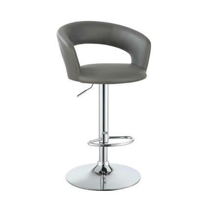 See Details - Contemporary Chrome and Grey Bar Stool