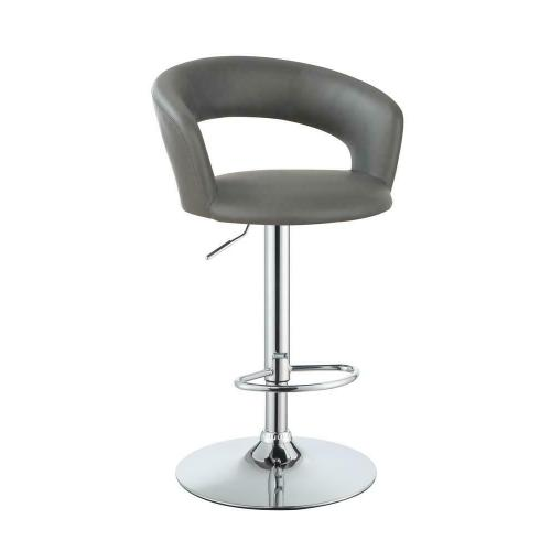 Contemporary Chrome and Grey Bar Stool