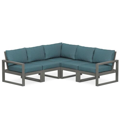 Polywood Furnishings - EDGE 5-Piece Modular Deep Seating Set in Slate Grey / Ocean Teal