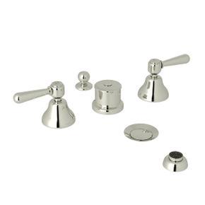Verona Five Hole Bidet Faucet - Polished Nickel with Metal Lever Handle