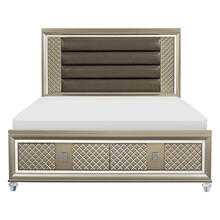 See Details - California King Platform Bed with LED Lighting and Storage Footboard