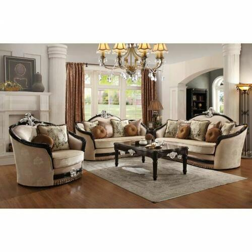ACME Ernestine Chair w/2 Pillow - 52112 - Tan Fabric & Black