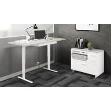 """View Product - Centro 6452-2 Standing Desk  66""""x30"""" in Satin White Gray Glass"""