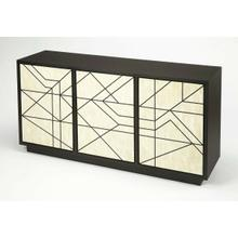 See Details - When storage is needed but you don't want to sacrifice style, this stunning sideboard is your go-to. Simply set it on a blank wall across from the front door to greet guests as they walk through the front door. Use this posh piece to stage mirrors and a few framed family photos. Behind the three hand crafted with bone inlay and MDF, with push latch closures and adjustable shelves, this clean-lined modern sideboard, offers a stylish spot to stow fine china, table linens, and more.