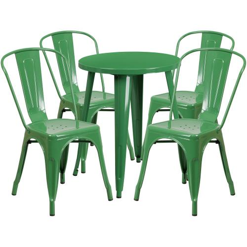 24'' Round Green Metal Indoor-Outdoor Table Set with 4 Cafe Chairs